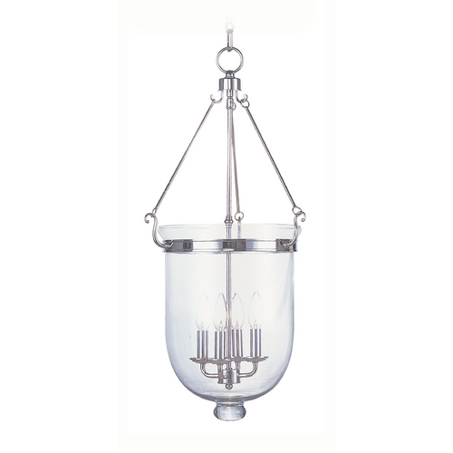 Livex Lighting Livex Lighting Jefferson Polished Nickel Pendant Light with Bowl / Dome Shade 5065-35