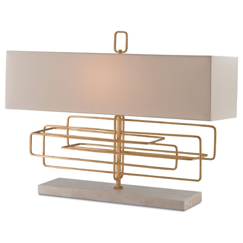 Currey and Company Lighting Currey and Company Metro Contemporary Gold Leaf Table Lamp with Rectangle Shade 6976