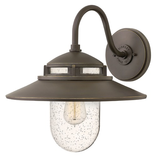 Hinkley Lighting Barn Light Seeded Glass Outdoor Wall Light Oil Rubbed Bronze Hinkley Lighting 1114OZ
