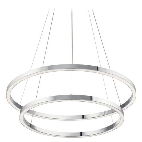 Elan Lighting Opus 2-Light Chrome LED Chandelier with Etched Acrylic 3000K 2575LM 83866