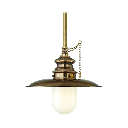 Hudson Valley Lighting Nautical Pendant Light with White Glass in Aged Brass Finish 8815-AGB