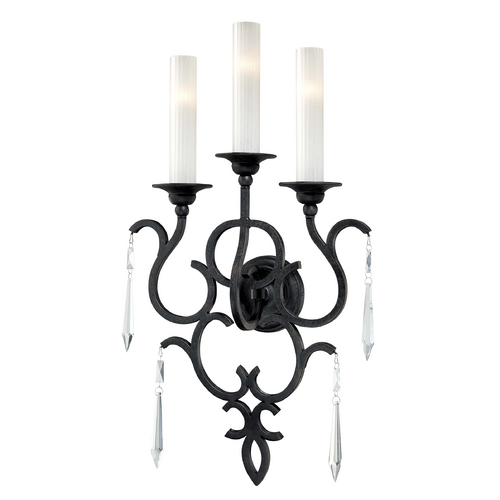 Metropolitan Lighting Sconce Wall Light with White Glass in Castellina Aged Iron Finish N1703-254