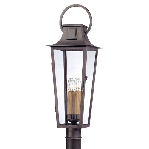 Troy Lighting Post Light with Clear Glass in Aged Pewter Finish P2965