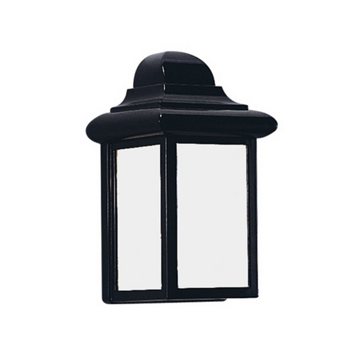 Sea Gull Lighting Outdoor Wall Light with White Glass in Black Finish 8988BLE-12