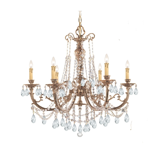 Crystorama Lighting Crystal Chandelier in Olde Brass Finish 476-OB-CL-MWP