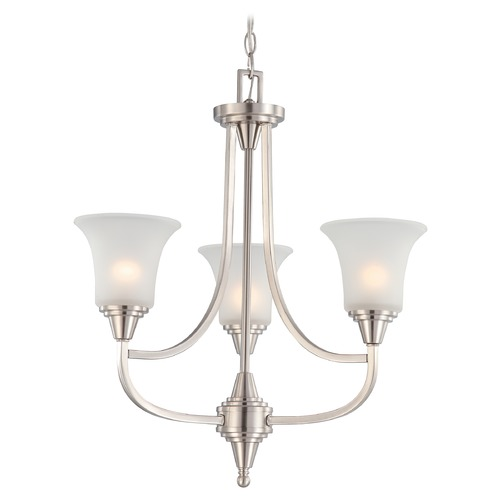 Nuvo Lighting Modern Chandelier with White Glass in Brushed Nickel Finish 60/4145