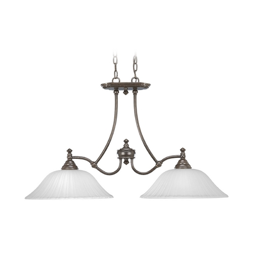 Progress Lighting Progress Island Light with White Glass in Forged Bronze Finish P4113-77