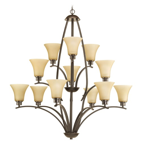 Progress Lighting Chandelier with Beige / Cream Glass in Antique Bronze Finish P4497-20