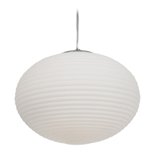 Access Lighting Access Lighting Callisto Brushed Steel Pendant Light with Globe Shade C50180BSOPLEN1213B