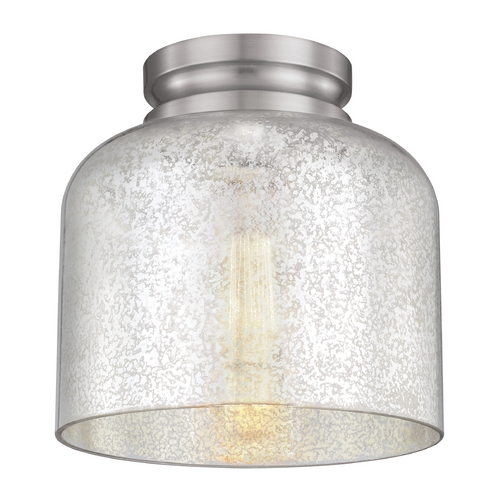 Feiss Lighting Mercury Glass Flushmount Light Brushed Steel Feiss Lighting FM408BS