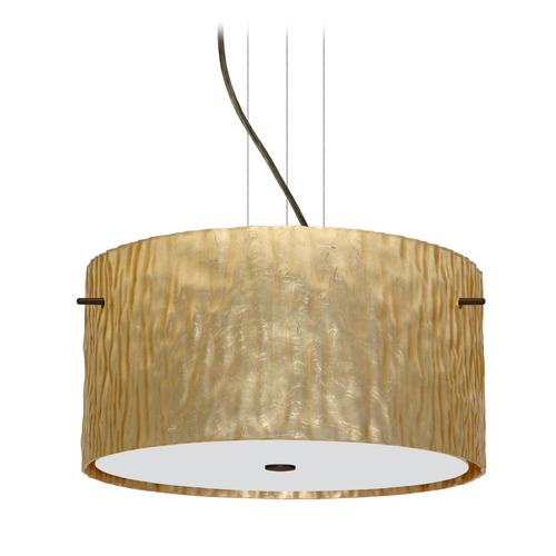 Besa Lighting Besa Lighting Tamburo Bronze LED Pendant Light with Drum Shade 1KV-4008GS-LED-BR
