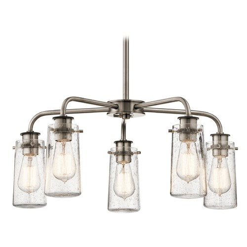 Kichler Lighting Seeded Glass Chandelier Pewter Kichler Lighting 43058CLP