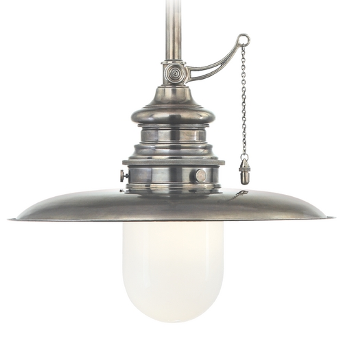 Hudson Valley Lighting Pendant Light with White Glass in Historic Nickel Finish 8815-HN