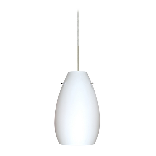 Besa Lighting Modern Pendant Light with White Glass in Satin Nickel Finish 1JT-412607-SN