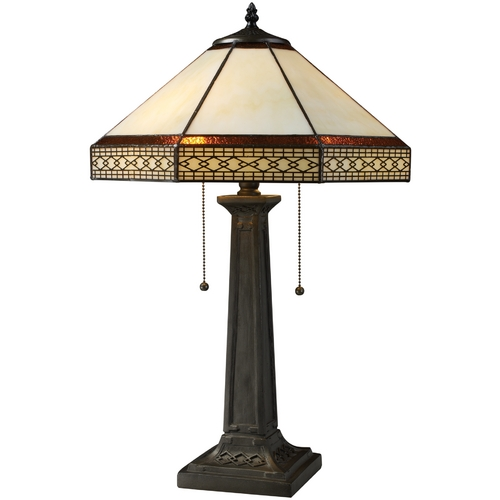 Elk Lighting Table Lamp with Tiffany Glass in Bronze Finish D1858