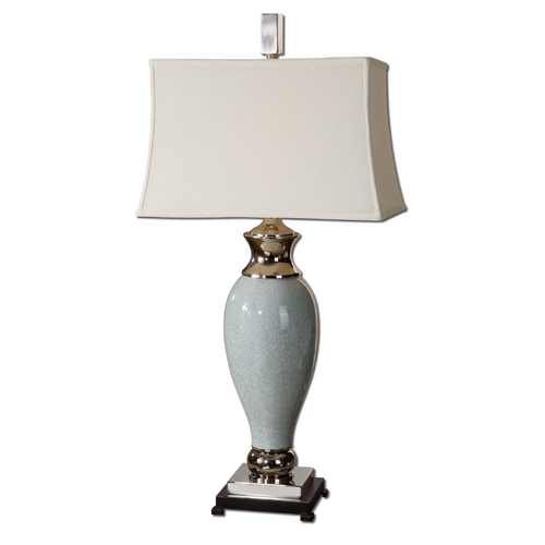 Uttermost Lighting Table Lamp with White Shade in Crackled Light Blue Finish 26783