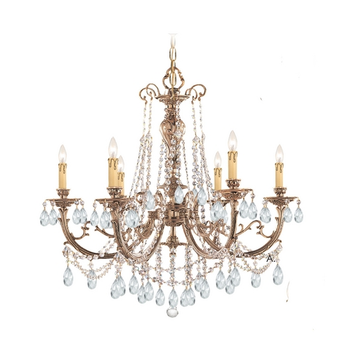 Crystorama Lighting Crystal Chandelier in Olde Brass Finish 476-OB-CL-S