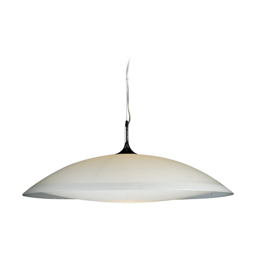 PLC Lighting Modern Pendant Light with White Glass in Polished Chrome Finish 3510 PC