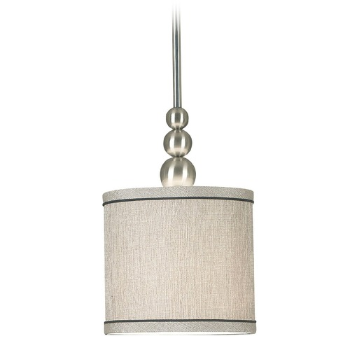 Kenroy Home Lighting Modern Drum Mini Pendant Light in Brushed Steel Finish 91641BS