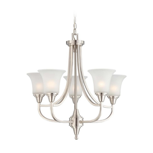 Nuvo Lighting Modern Chandelier with White Glass in Brushed Nickel Finish 60/4146
