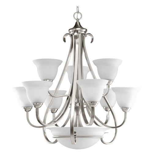 Progress Lighting Progress Chandelier with White Glass in Brushed Nickel Finish P4418-09