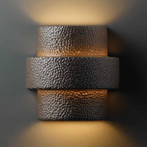 Justice Design Group Outdoor Wall Light in Hammered Iron Finish CER-2215W-HMIR
