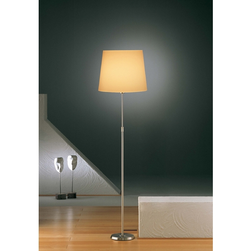 Holtkoetter Lighting Holtkoetter Modern Floor Lamp with Beige / Cream Shade in Satin Nickel Finish 6354 SN KPRG