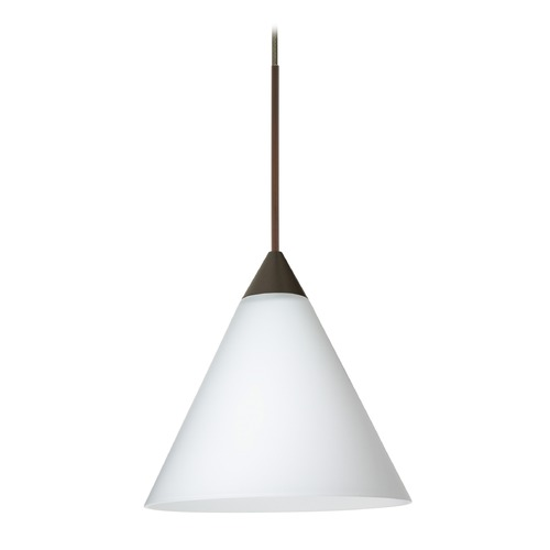 Besa Lighting Besa Lighting Kani Bronze LED Mini-Pendant Light with Conical Shade 1XT-512107-LED-BR