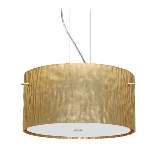 Besa Lighting Besa Lighting Tamburo Satin Nickel LED Pendant Light with Drum Shade 1KV-4008GS-LED-SN