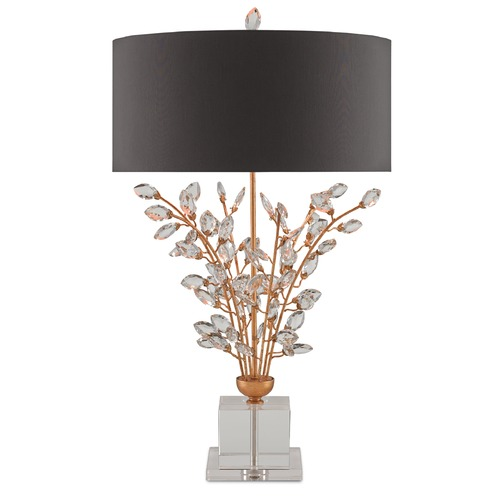Currey and Company Lighting Currey and Company Forget-Me-Not Chinois Gold Leaf/clear Table Lamp with Drum Shade 6983