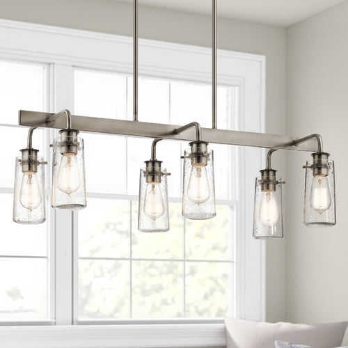 Kichler Lighting Seeded Glass Linear Chandelier Pewter Kichler Lighting 43059CLP