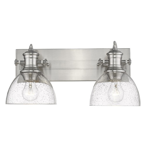 Golden Lighting Golden Lighting Hines Pewter Bathroom Light with Seeded Shade 3118-BA2PW-SD