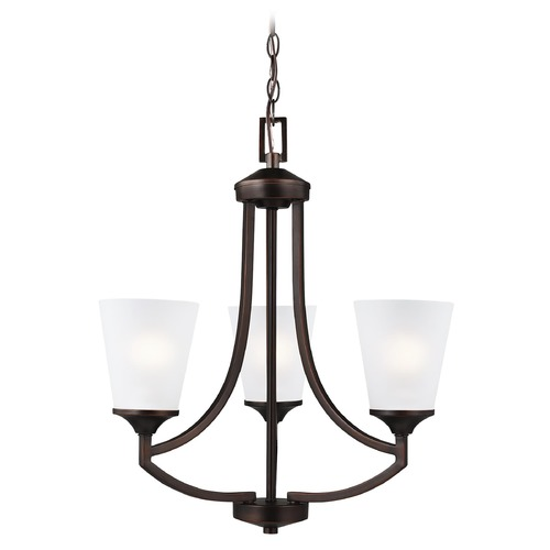 Sea Gull Lighting Hanford Bronze 3 Lt. Chandelier with Etched White Glass 3124503-710