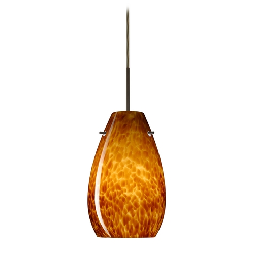 Besa Lighting Modern Pendant Light with Amber Glass in Bronze Finish 1JT-412618-BR