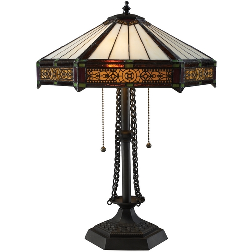 Elk Lighting Table Lamp with Tiffany Glass in Bronze Finish D1852