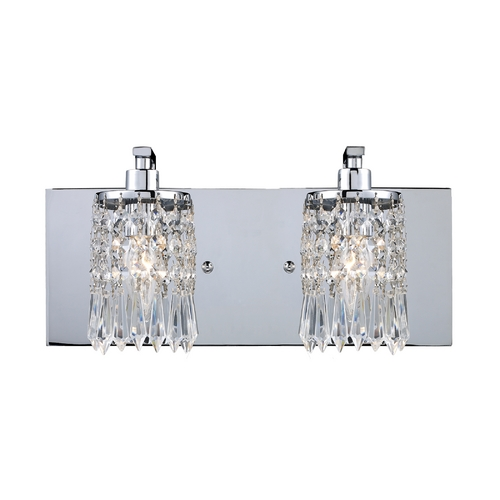 Elk Lighting Modern Bathroom Light with Clear Glass in Polished Chrome Finish 11229/2