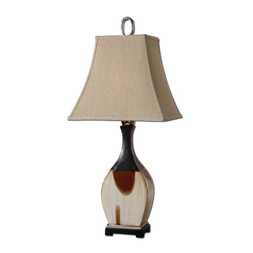 Uttermost Lighting Table Lamp with Beige / Cream Shade in Black Finish 26784