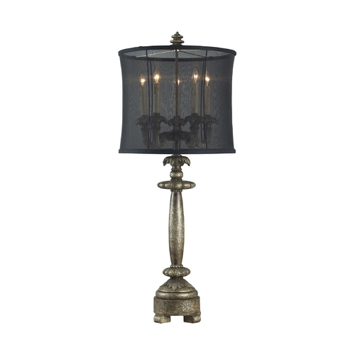 Dimond Lighting Table Lamp with Black Shade in Drakes Dark Silver Finish 93-9127