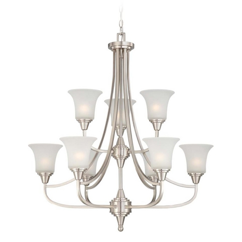 Nuvo Lighting Modern Chandelier with White Glass in Brushed Nickel Finish 60/4149