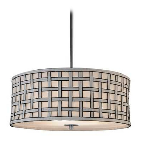 Design Classics Lighting Contemporary Drum Shade Pendant Light with Criss-Cross Patterned Shade DCL 6528-09 SH7489  KIT