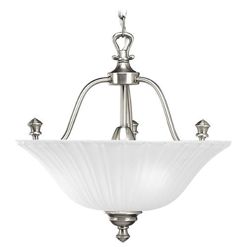 Progress Lighting Progress Semi-Flushmount Light with White Glass in Nickel Finish P3607-81