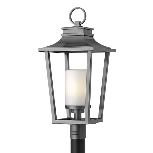 Hinkley Lighting Post Light with White Glass in Hematite Finish 1741HE