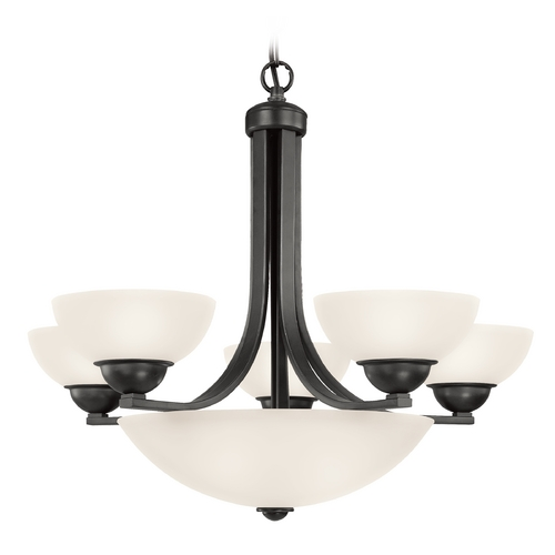 Dolan Designs Lighting Bronze Chandelier with Eight Lights and Center Glass Bowl  208-46