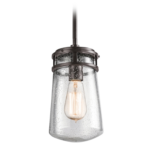Kichler Lighting Seeded Glass Outdoor Hanging Light Bronze Kichler Lighting 49447AZ