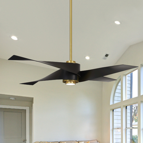 Minka Aire 64-Inch Minka Aire Artemis IV Soft Brass LED Ceiling Fan with Light F903L-SBR/MBK