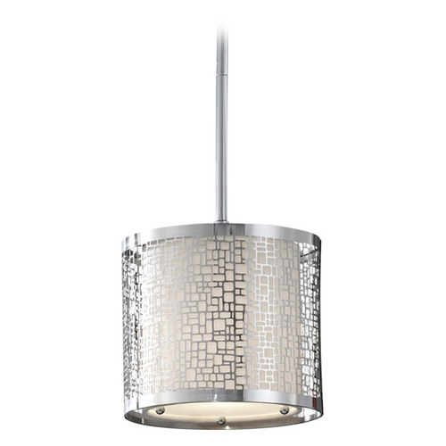 Feiss Lighting Modern Mini-Pendant Light with White Shade P1218CH