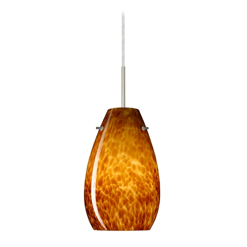 Besa Lighting Modern Pendant Light with Amber Glass in Satin Nickel Finish 1JT-412618-SN