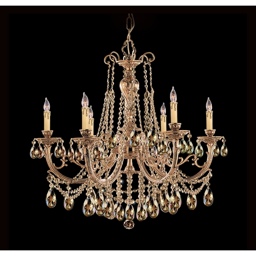 Crystorama Lighting Crystal Chandelier in Olde Brass Finish 476-OB-GT-MWP