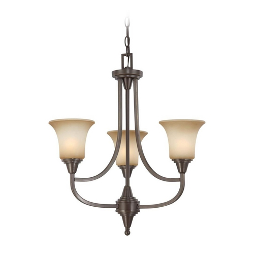 Nuvo Lighting Modern Chandelier with Beige / Cream Glass in Vintage Bronze Finish 60/4165