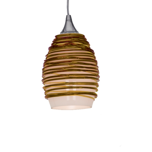 Access Lighting Adele Amber Glass Mini-Pendant 23733-BS/AMB